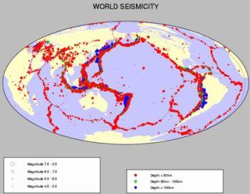 Les points sismisques ont lieu sur les zones de frottements des failles.On détermine ainsi distinctement les différentes plaques qui constituent le plancher continentale et océanique.