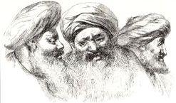 """""""Deux moines coptes, le troisième à droite est Malem Jacob, personnage distingué et d'un mérite remarquable""""."""