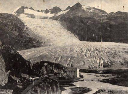 Le glacier du Rhône en 1850,  11,5km.