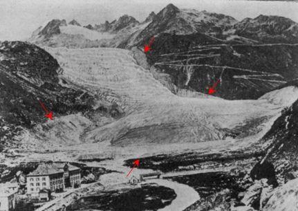 Le glacier du Rhône en 1870. (les flèches rouges indiquent la position en 1850).