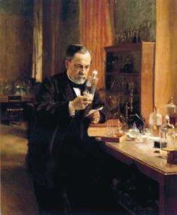 Portrait de Louis Pasteur dans son laboratoire de la rue d'Ulm à Paris.