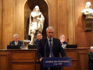Gilles de Robien ministre de l'Éducation nationale, de l'Enseignement supérieur et de la Recherche, le 5 mars 2007, à l'Académie des sciences morales et politiques