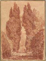 Jean-Honoré Fragonard, Les grands cyprès de la Villa d'Este, Sanguine. 47,8 x 35,4 cm.