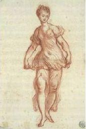 Jean-Honoré Fragonard, Danseuse soulevant le volant de sa tunique, Sanguine et lavis de sanguine, 43,2 x 28,5 cm.