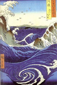 Utagawa Hiroshige (1797-1858). Vue des troubillons de Naruto à Awa.