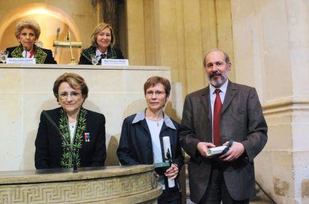 Nicole Le Douarin, Francis Eustache, Béatrice Desgranges, le 13 juin 2007, sous la Coupole