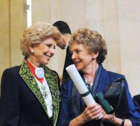 Hélène Carrère D'Encausse et Mona Ozouf, le 13 juin sous la Coupole