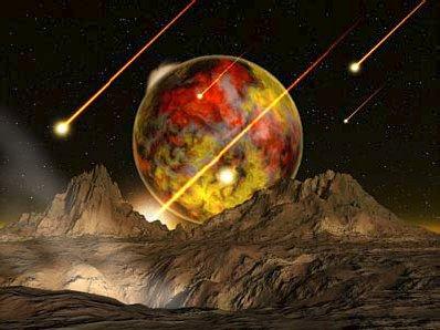 Vue d'artiste de la planète extrasolaire 51 Pégase B, depuis sa Lune