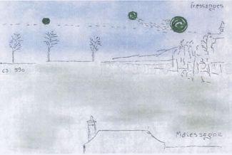 Croquis d'un phénomène aérospatial non indentifié d'un témoin, parvenu au GEIPAN