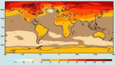 Projection de l'augmentation des températures vers 2085 (moyenne: +3,1°C)