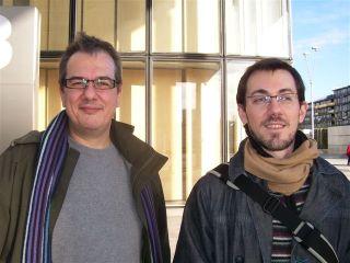 Christophe Mirambeau et Jean-Yves Aizic, à la sortie de la répétition, esplanade de la Bibliothèque Nationale de France, le 22 novembre 2007