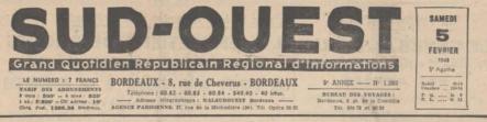 Le journal Sud-Ouest en 1949