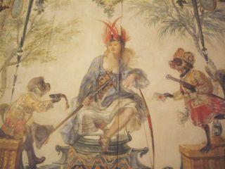 Panneau de bois attribué à Christophe Huet,  Les Amériques, Grande Singerie du Musée Condé de Chantilly