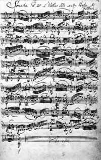 Manuscrit de la sonate pour violon n°1 en sol mineur, BWV1001
