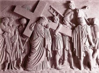 Cinquième station, Simon de Cyrène aide Jésus à porter la croix