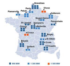 La France métropolitaine compte actuellement 59 réacteurs nucléaires de type REP répartis sur 19 centrales.