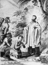 Saint François Xavier baptise des indigènes