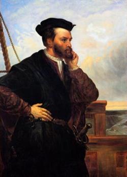 Jacques Cartier (1491-1557), par Théophile Hamel, 1848, d'après un portrait aujourd'hui disparu produit par François Riss (1804-1886) en 1839. — On ignore cependant son vrai visage