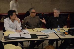 David Henry Hwang, Howard Shore et David Cronenberg lors des répétitions de l'opéra The Fly, juin 2008