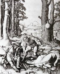 """Lucas de Leyde: """"L'ivresse de Mahomet"""". Burin sur cuivre. 1508"""