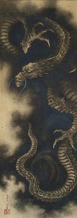 Dragon, 1849, Encre sumi et lavis bleu outremer sur papier, format kakémono