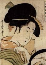 Jeune femme au miroir, Utamaro (1796)