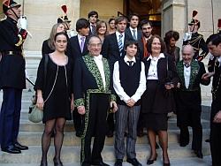 Philippe Beaussant de l'Académie française entouré de sa famille, le 23 octobre 2008, Institut de France