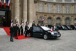 Départ du président de la République Nicolas Sarkozy, le 7 octobre 2008 de l'Institut de France