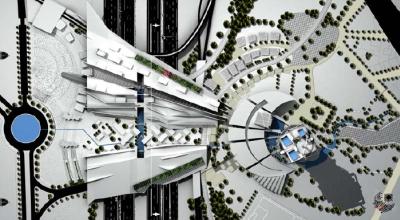 Image du projet de Vincent Champier,  Le Nouvel Etablissement Humain-Le trait d'union architectural , 1er Prix du Grand Prix d'Architecture 2008  de l'Académie des beaux-arts