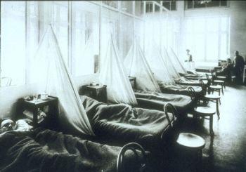Hôpital de campagne n°45 de l'armée américaine à Aix-les-Bains, pendant la pandémie de grippe espagnole en 1918