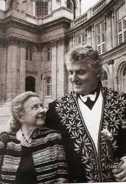 Léonard Gianadda dans la cour de l'Institut de France, 4 juin 2003