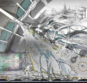 Image du projet de Fabrizio Esposito,  Le Nouvel Etablissement Humain-Le trait d'union architectural , 3<sup>e<\/sup> Prix du Grand Prix d'Architecture 2008 de l'Académie des beaux-arts