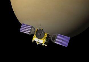 Vue d'artiste de la sonde Venus Express, orbitant autour de la planète Vénus