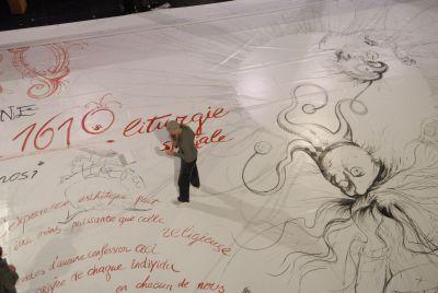 Oleg Kulik peint l'immense toile qui habille la façade extérieure du Théâtre du Châtelet