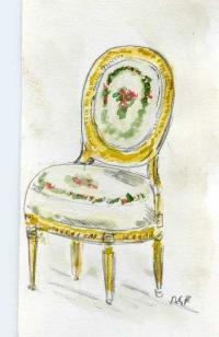 La chaise de la du Barry. Aquarelle de Bertrand Galimard Flavigny.