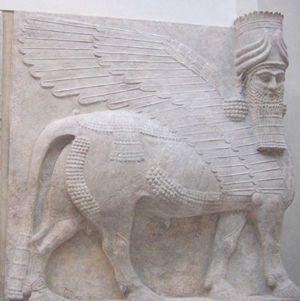 Taureau androcéphale ailé gardien du palais de Sargon II à Dur-Sharrukin, en Assyrie