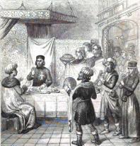 Zizim, fils de Mahomet II, dînant à la table du grand maître. Dessin de Rouargue d'après un manuscrit du XVème siècle