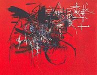 Flamence rouge, 1950, huile sur toile de Georges Mathieu