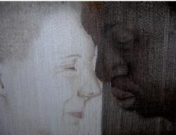 Métis, Technique personnelle, fils synthétiques, thé, café, 155x116 cm, tapisserie de Rasma Noreikyte, 2008