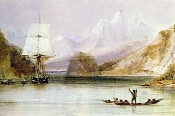 Le Beagle dans les eaux de la Terre de Feu, salué par les autochtones fuégiens.