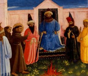 FRA ANGELICO – {La Preuve par le Feu de Saint François devant le Sultan}, vers 1429. Musée Lindenau, Altenbourg