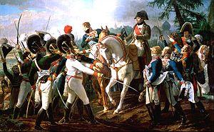 Napoléon Ier harangue les troupes bavaroises et wurtembourgeoises à Abenberg (Jean-Baptiste Debret)