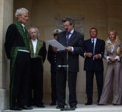 Le ministre Jean-Louis Borloo et Jacques Rougerie de l'Académie des beaux-arts, 3 juin 2009, Institut de France
