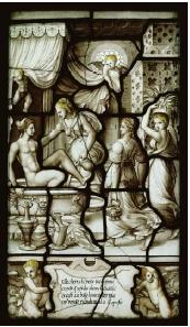 Vitrail de la galerie de Psyché, XVI <sup>e<\/sup> siècle, Chantilly,  Toilette de Psyché, musée Condé