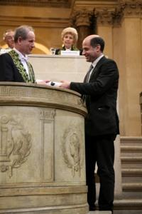 Gérard Laumon, de l'Académie des sciences et Michael Harris, Lauréat du Prix scientifique de la Fondation Simone et Cino del Duca, 10 juin 2009, Coupole de l'Institut de France