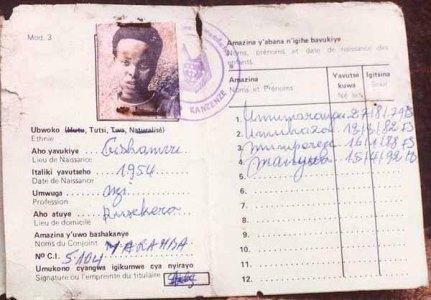 """Carte d'identité où figure la spécificité """"Tutsi"""""""
