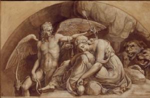 Jules Romain (1492-1546), L'Amour éveillant Psyché, lavis, Chantilly, musée Condé