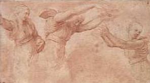 Raphaël (1453-1520), études pour les Heures jetant des fleurs dans le banquet des dieux aux noces d'Amour et de Psyché, sanguine, Chantilly, musée Condé