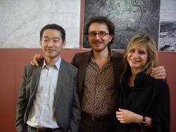 Les lauréats du Grand Prix d'architecture 2009, Liu Ruifeng, Aleksandar Jankovic, Vinciane Albrecht ( de gauche à droite), Institut de France, 6 mai 2009