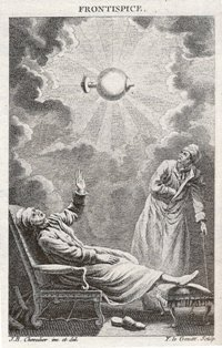 """Frontispice de """"Guérison de la Paralysie par l'Electricité"""" abbé Sans (1772), BNF, Bibliothèque de l'Arsenal"""